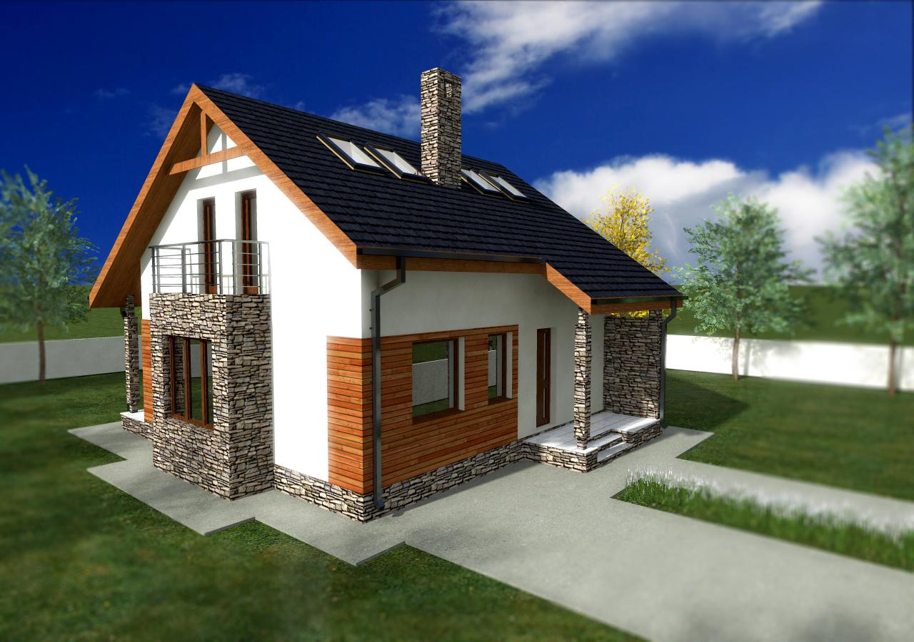 Proiect de casa cu mansarda 48