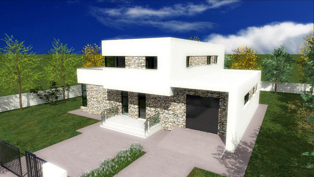 Proiect de casa cu parter, etaj si garaj pentru o masina – 1005