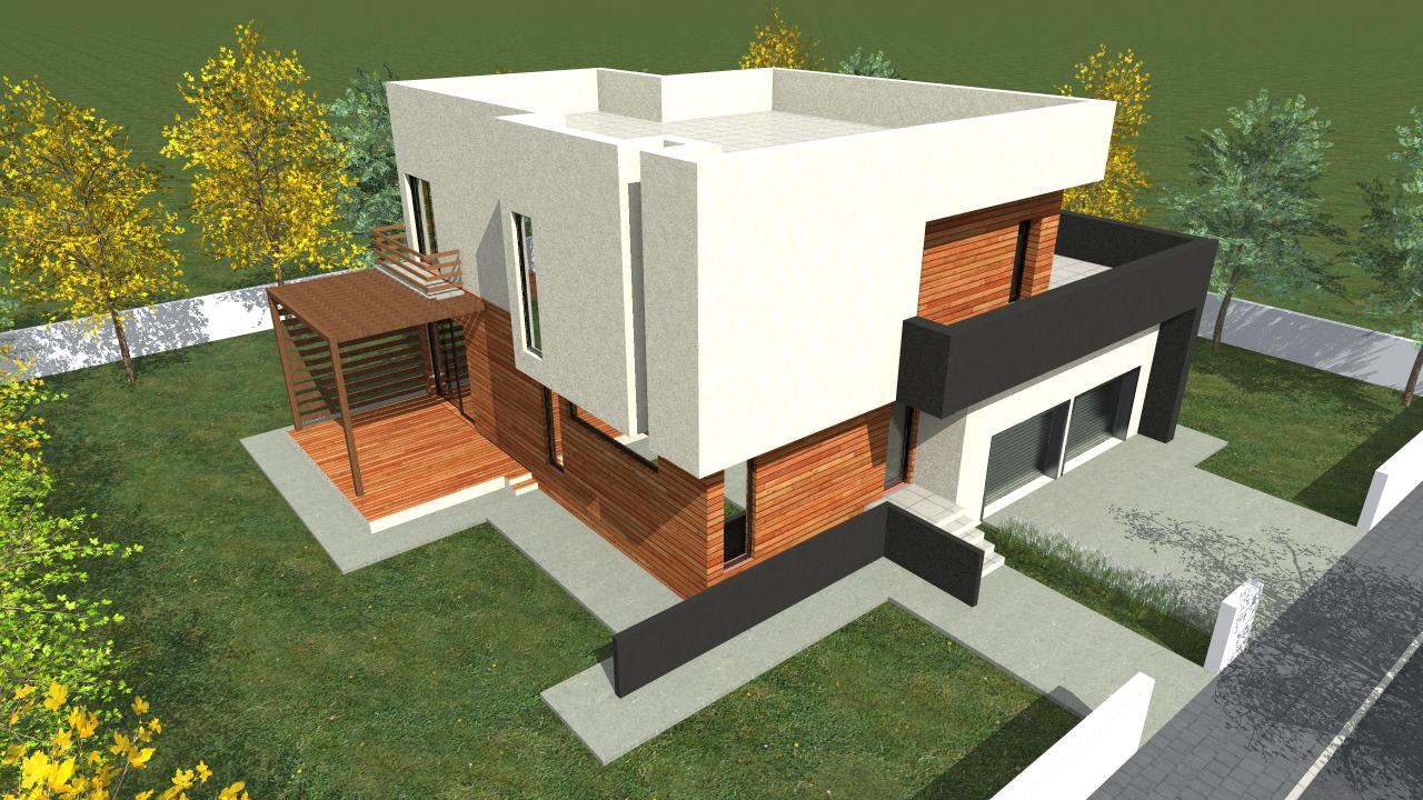 Proiect de casa cu parte, etaje si garaj pentru doua automobile –  10010