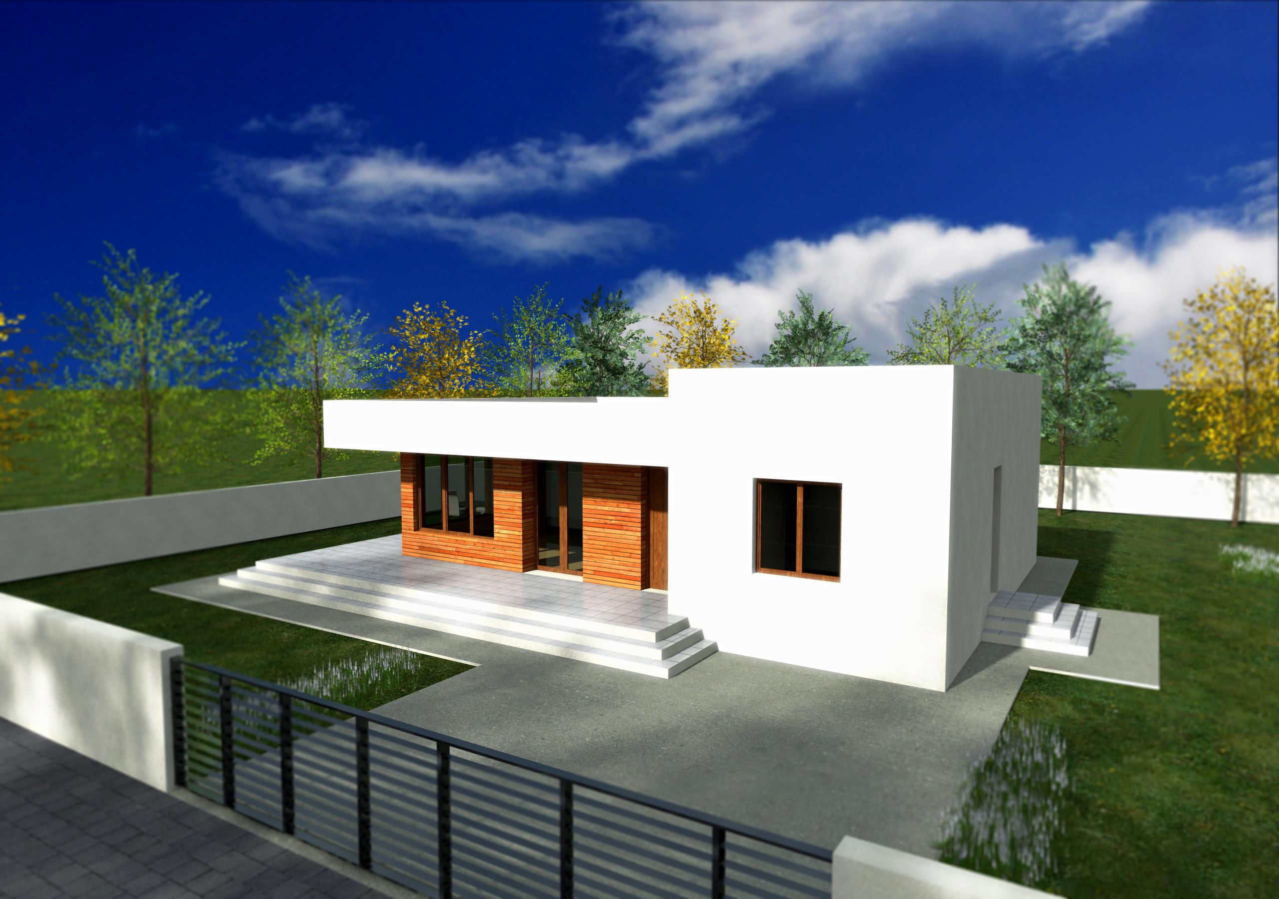 Proiect de casa cu parter si acoperis plat 246