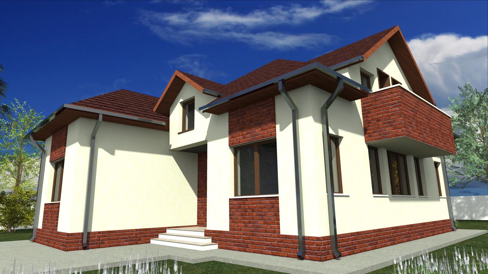 Proiect de casa cu mansarda si garaj 53