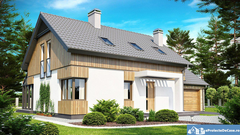 Proiect de casa cu mansarda si garaj 194