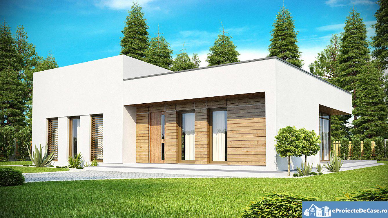 Proiect de casa cu parter si acoperis plat 295