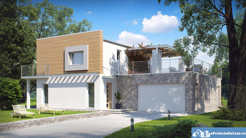 Proiect de casa cu doua etaje si acoperis plat 37