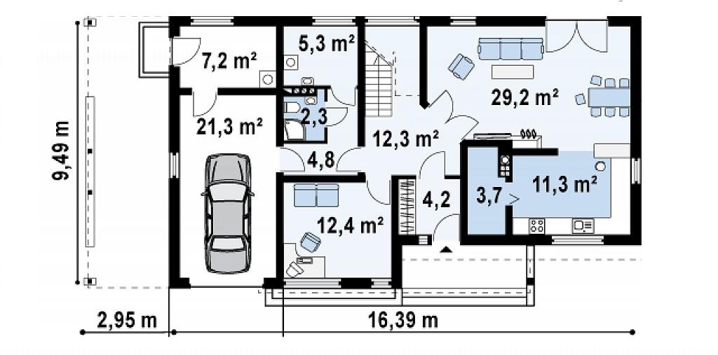 Proiect de casa cu doua etaje 34 proiectari si constructii for Case cu etaj si garaj