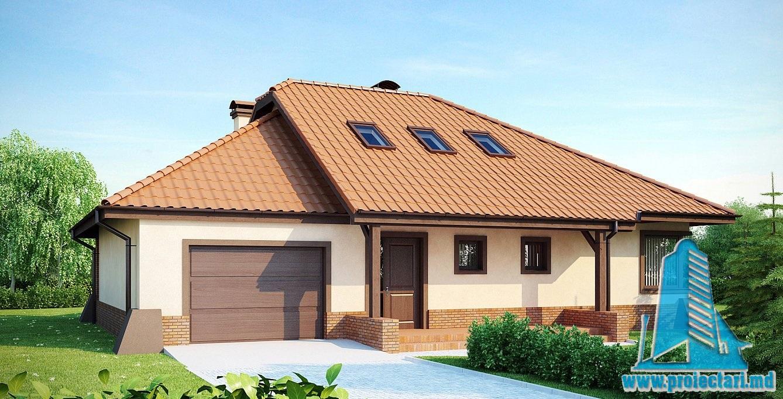 Proiect de casa cu mansarda si garaj 214