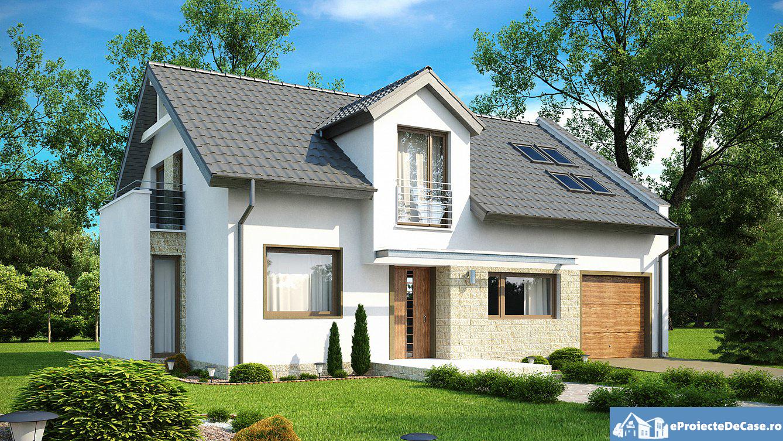 Proiect de casa cu mansarda si garaj 200