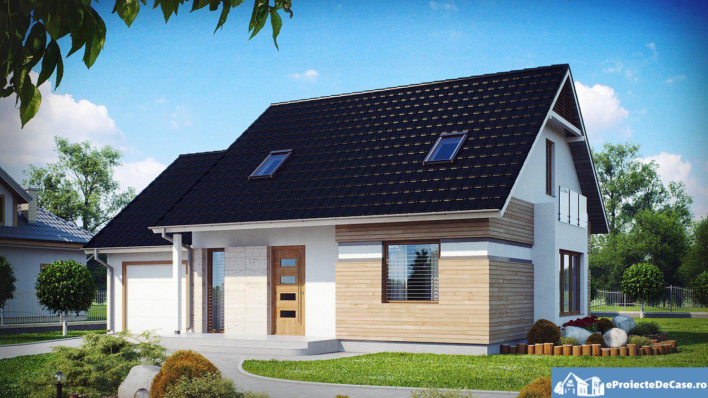 Proiect de casa cu mansarda si garaj 197