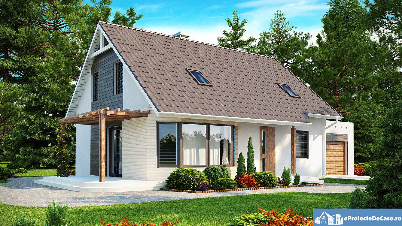 Proiect de casa cu mansarda si garaj 195