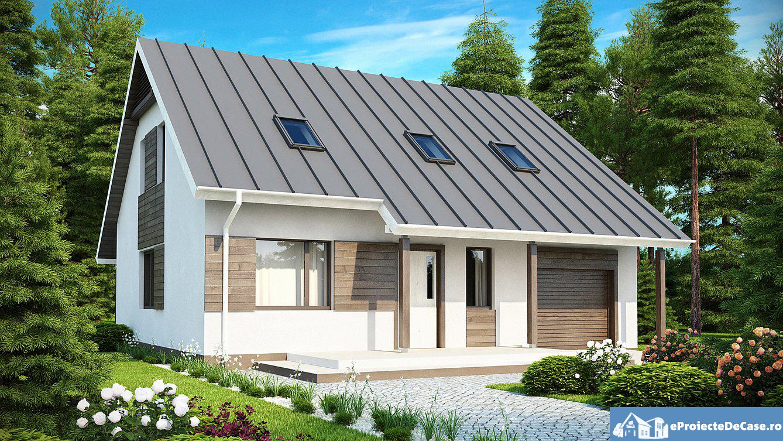 Proiect de casa cu mansarda si garaj 193
