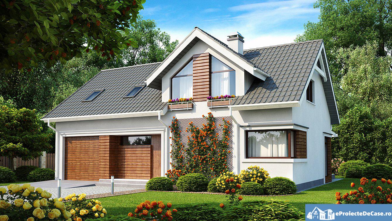 Proiect de casa cu mansarda si garaj 191