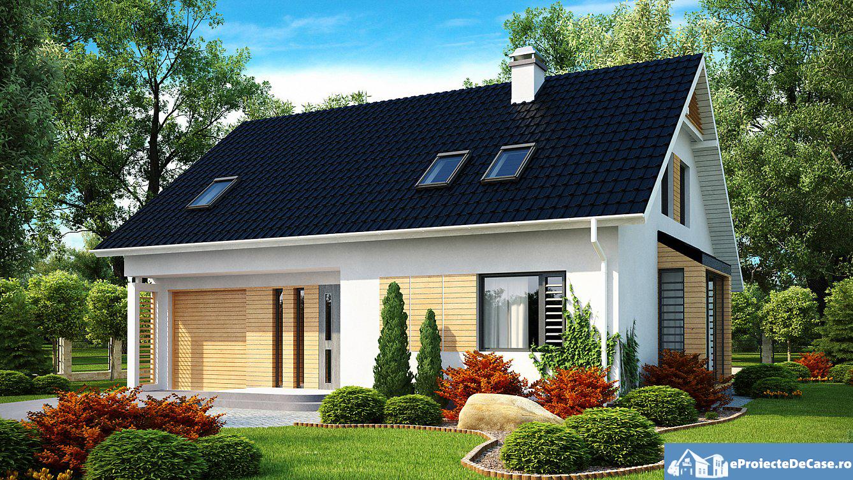 Proiect de casa cu mansarda si garaj 190