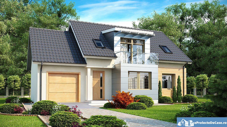 Proiect de casa cu mansarda si garaj 189