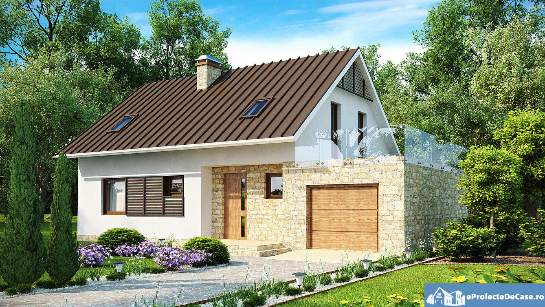 Proiect de casa cu mansarda si garaj 188