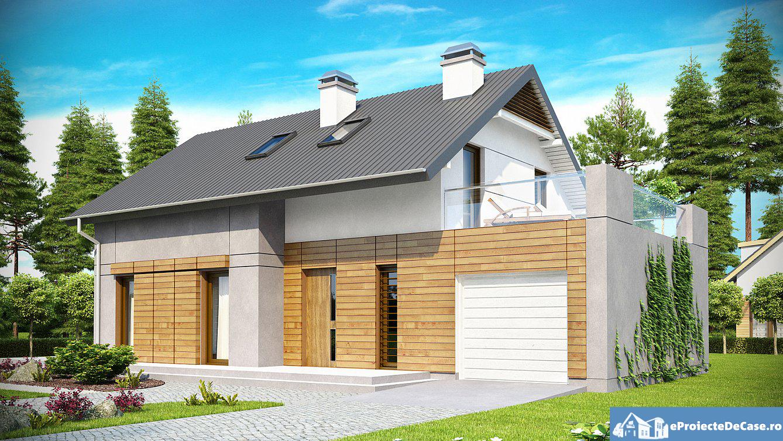 Proiect de casa cu mansarda si garaj 181