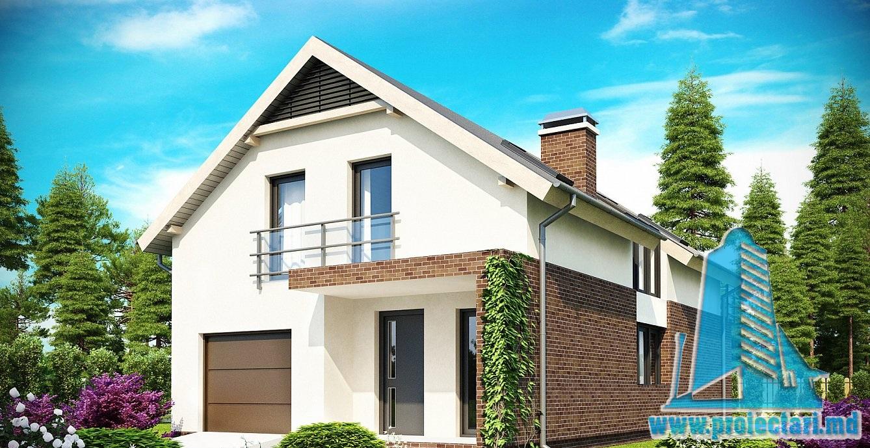 Proiect de casa cu mansarda si garaj 179