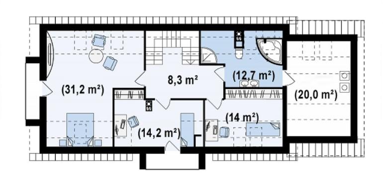 Proiect-casa-cu-Mansarda-si-Garaj-157011-mansarda1
