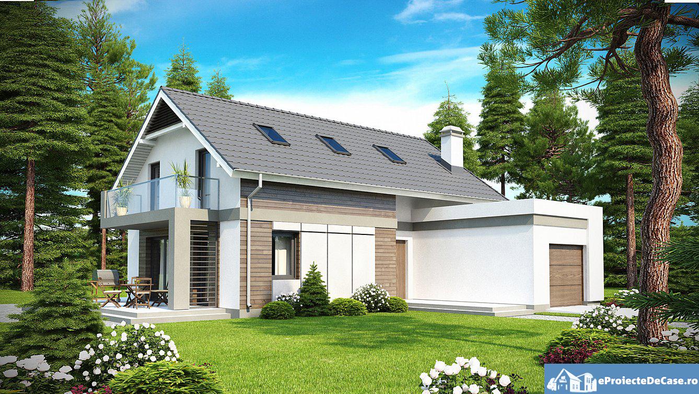 Proiect de casa cu mansarda si garaj 175