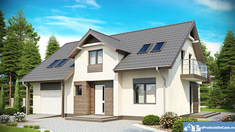 Proiect de casa cu mansarda si garaj 174