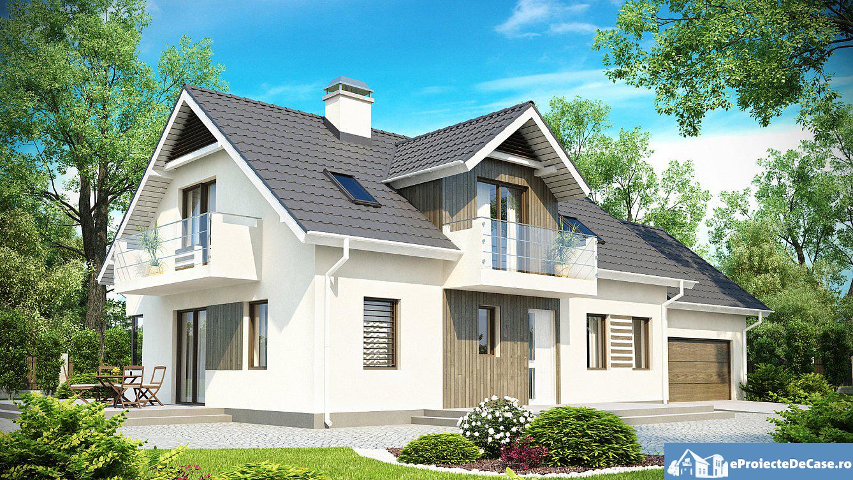 Proiect de casa cu mansarda si garaj 173