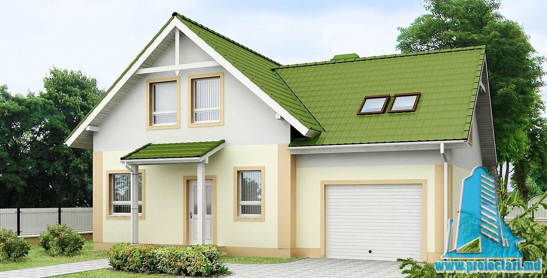Proiect de casa cu mansarda si garaj 218