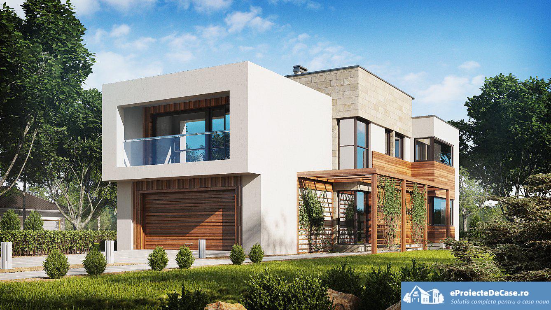 Proiect de casa cu parte, etaje si garaj pentru doua automobile – 10012
