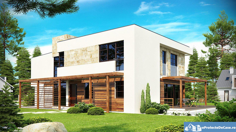 Proiect de casa cu parter, etaj si garaj pentru doua masini -1002