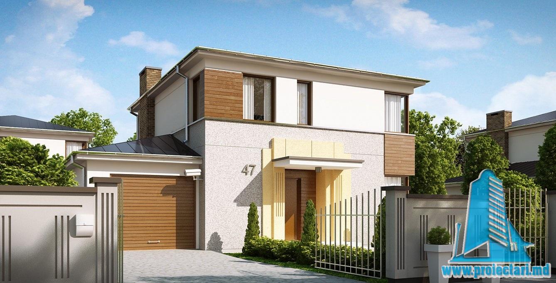 Proiect de casa cu parter, etaje si garaj pentru un automobil – 10017