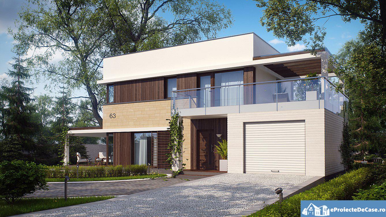 Proiect de casa cu parte, etaj si garaj pentru un automobil – 10013