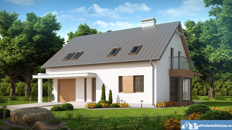 Proiect de casa cu mansarda si garaj 96