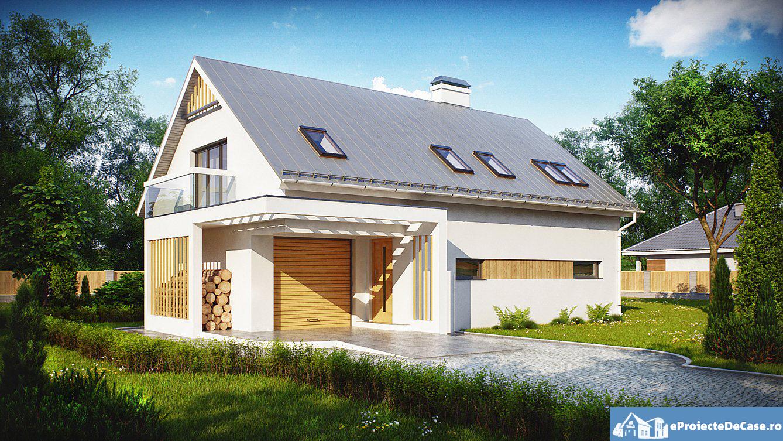 Proiect de casa cu mansarda si garaj 95