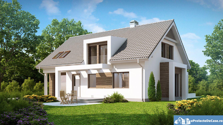 Proiect de casa cu mansarda si garaj 94
