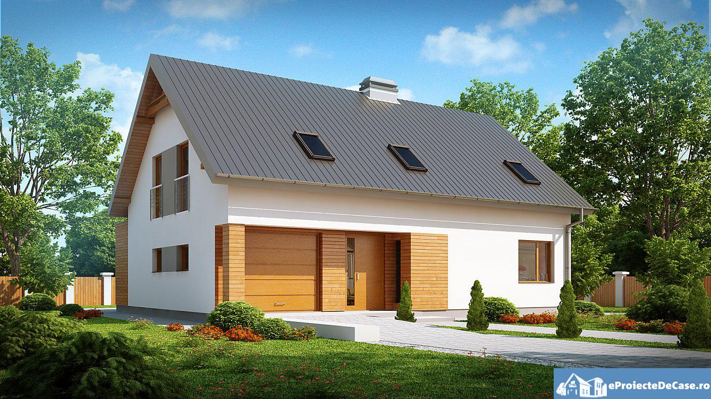 Proiect de casa cu mansarda si garaj 91