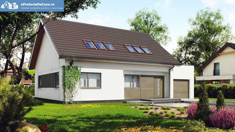 Proiect de casa cu mansarda cu garaj 57