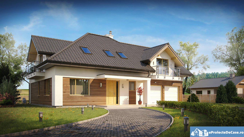 Proiect de casa cu mansarda si garaj 87