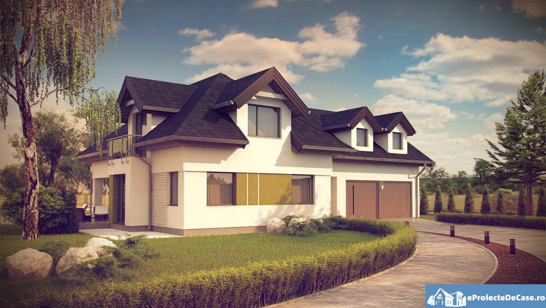 Proiect de casa cu mansarda si garaj 89