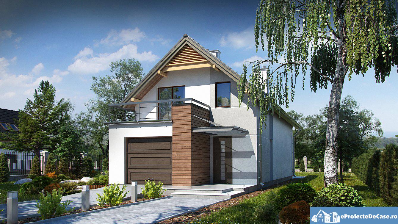 Proiect de casa cu mansarda si garaj 82