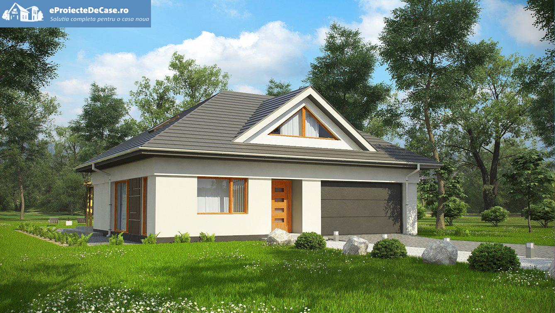 Proiect de casa cu mansarda si garaj 56