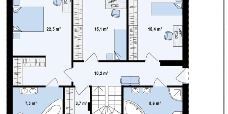 Проект двухэтажного дома с гаражом для одного автомобиля