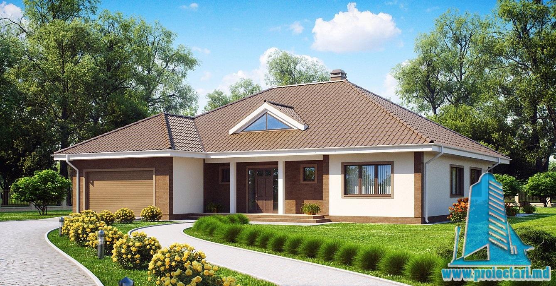 Proiect de casa cu mansarda si garaj 292