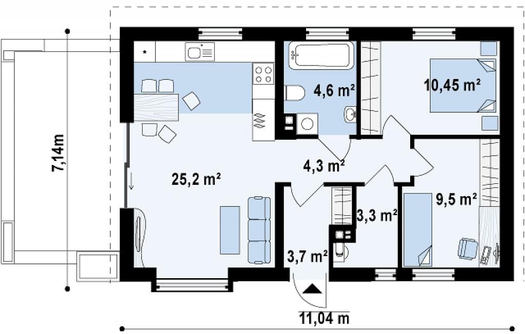 Proiect de casa cu parter 265 proiectari si constructii for Case parter 3 camere