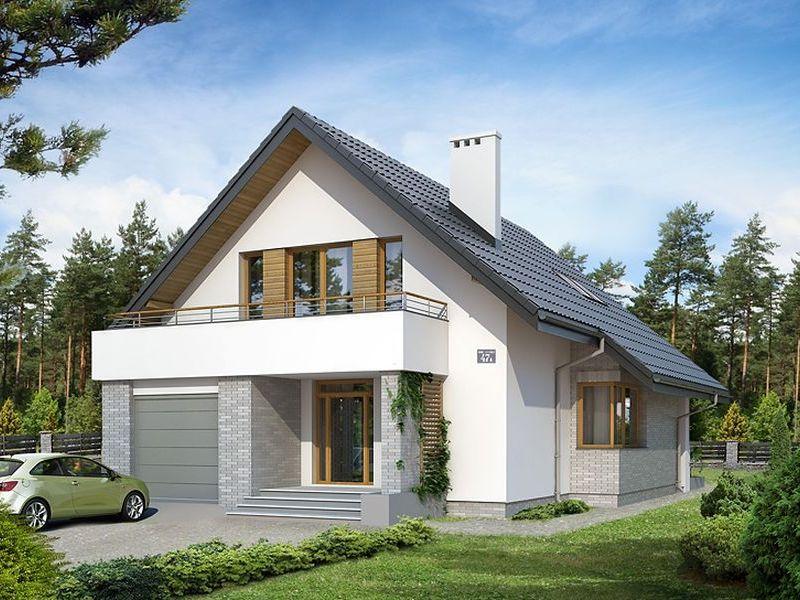 Proiect casa cu parter, mansarda si garaj pentru o masina-1000