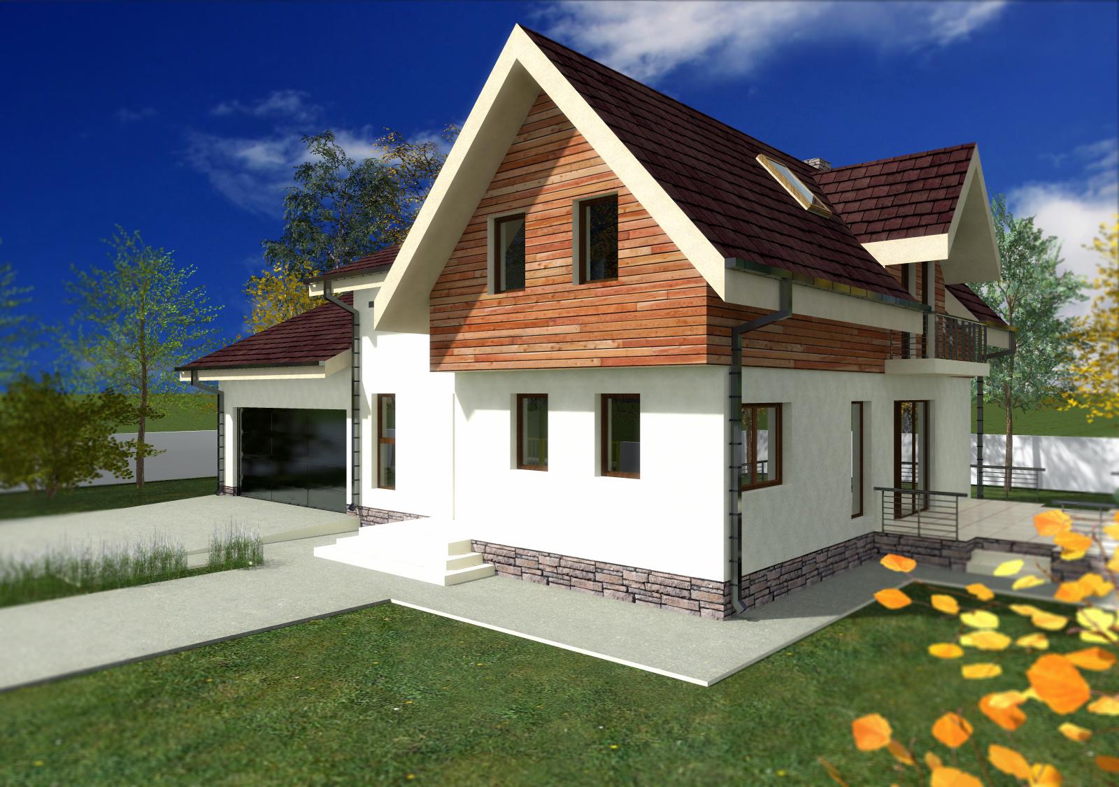 Proiect de casa cu mansarda si garaj 54