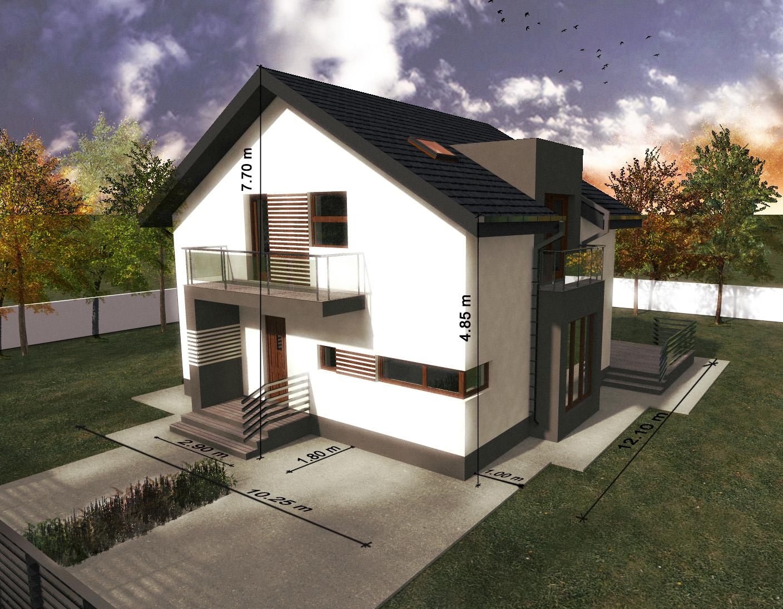 Proiect de casa cu etaj si garaj 59