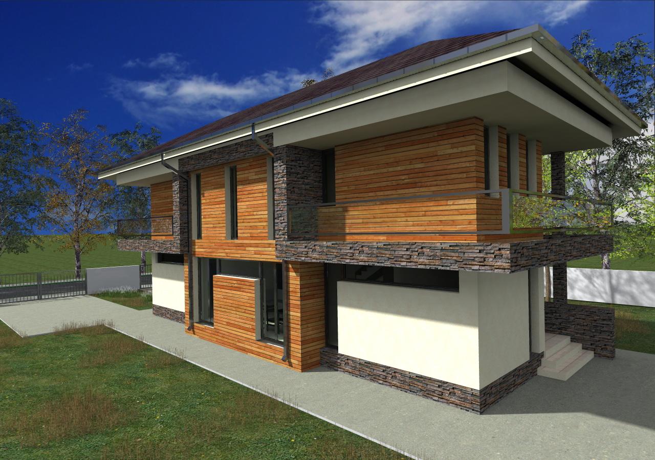 Proiect de casa cu parte si etaje -1007