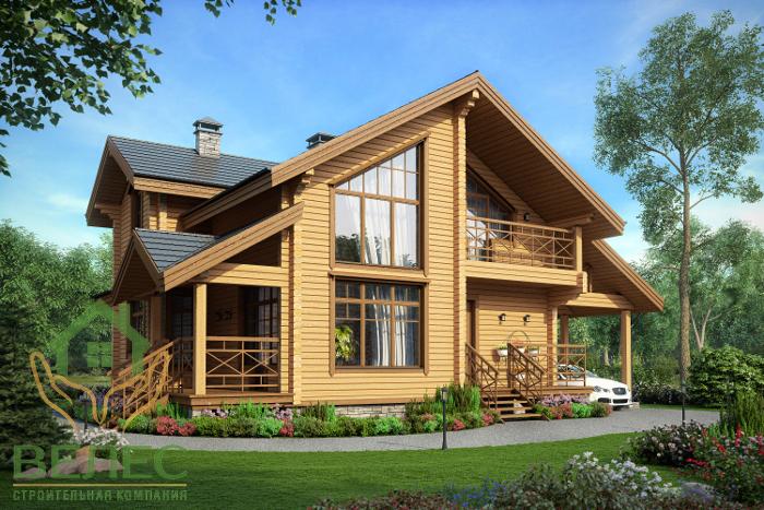 Proiect de Casa cu mansarda din lemn 314