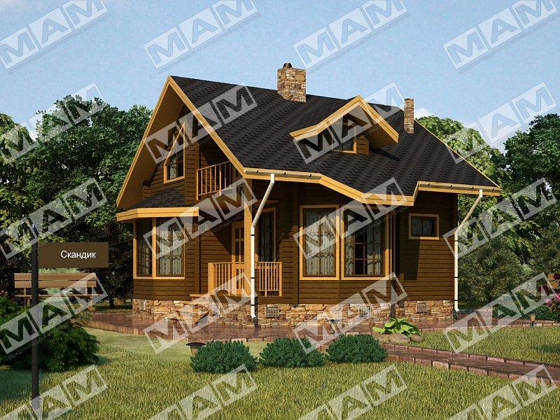 Proiect de Casa cu parter si mansarda din lemn 357