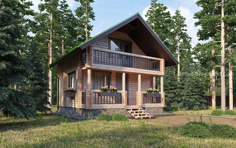 Proiect de Casa cu mansarda din lemn 327