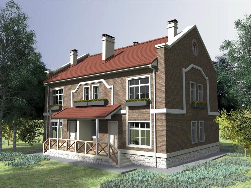 Proiect de Casa duplex cu etaj 383