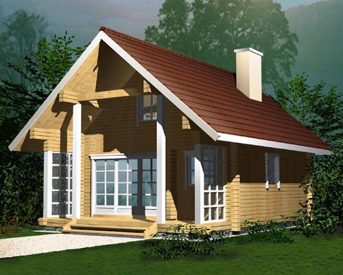 Proiect de Casa cu mansarda din lemn 326